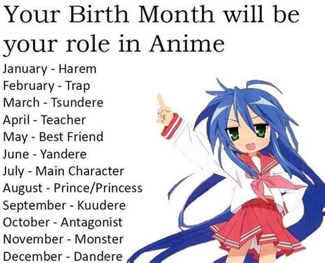 Your birth month will be your role in Anime I got the main