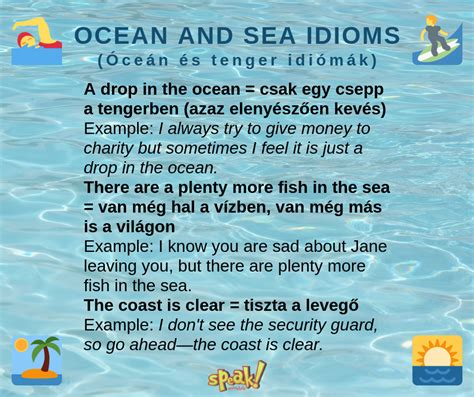 English idioms about the ocen and sea - with examples and