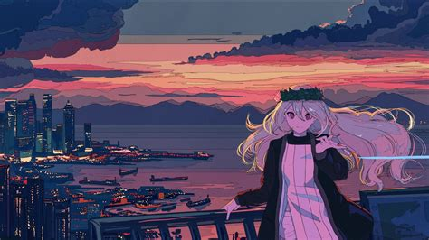Anime Girl In Balcony Cityscape Sea And Sunset, Full HD