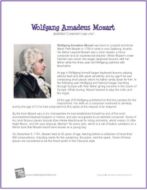 Wolfgang Amadeus Mozart | Free Famous Composer Biography